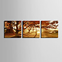 cheap Stretched Canvas Prints-Landscape European Style, Three Panels Canvas Square Print Wall Decor Home Decoration