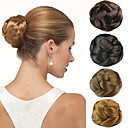 cheap Hair Pieces-wedding bridal updo chignon bun clips synthetic straight hair extensions more colors