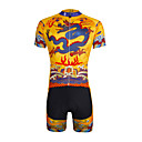 abordables Broches-ILPALADINO Hombre Manga Corta Maillot de Ciclismo con Shorts - Amarillo Bicicleta Shorts/Malla corta Camiseta/Maillot Sets de Prendas,