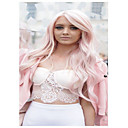 cheap Synthetic Lace Wigs-Synthetic Wig Wavy Pink With Bangs Synthetic Hair Side Part Pink Wig Women's Long