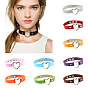 cheap Videogame Cosplay Wigs-Choker Necklace / Collar Necklace / Tattoo Choker - Leather, Silver Plated Heart, Love Personalized, Tattoo Style, Vintage Dark Brown, Khaki, Transparent Necklace For Party, Thank You, Daily