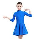 رخيصةأون ملابس رقص للأطفال-الرقص اللاتيني الفساتين أداء نايلون روش 3/4 الكم ارتفاع متوسط فستان