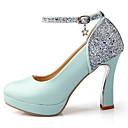 baratos Sapatos de Salto-Mulheres Sapatos Courino Primavera / Verão Saltos Salto Robusto / Plataforma Lantejoulas / Presilha / Rendado Branco / Azul / Rosa claro