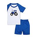preiswerte Modische Uhren-Jungen Kleidungs Set Schlafanzüge Alltag Patchwork Baumwolle Sommer Kurzarm Zeichentrick Blau