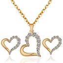 cheap Jewelry Sets-Women's Hollow Out Jewelry Set - Rhinestone Heart Fashion Include Necklace / Earrings Gold / White For Party / Daily / Casual