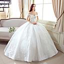Χαμηλού Κόστους Καλτσοδέτες γάμου-Βραδινή τουαλέτα Ώμοι Έξω Μακρύ Δαντέλα / Τούλι Φορέματα γάμου φτιαγμένα στο μέτρο με Μοτίβο με LAN TING Express