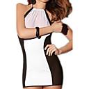 رخيصةأون ملابس ليلية نسائية-المرأة مثير للنوم مثير - شبكة ، كتلة اللون