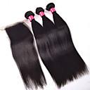 billige Hundehalsbånd og bånd-Peruviansk hår Rett Ubehandlet hår Hår Veft Med Lukker Hårvever med menneskehår Hairextensions med menneskehår