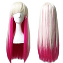 cheap Synthetic Capless Wigs-lolita fashion pink mixed white color long straight silky beauty wigs anime cosplay party natural hairs heat resistant Halloween