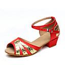 hesapli Ekranlar-Kadın's Latin Dans Ayakkabıları / Performans Yapay Deri Topuklular Kalın Topuk Kişiselletirilmemiş Dans Ayakkabıları Siyah / Kırmızı /