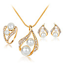 cheap Jewelry Sets-Women's Jewelry Set - Pearl, Imitation Pearl, Rhinestone Fashion Include White For Wedding Party / Silver Plated / Rings / Earrings / Necklace