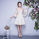 Χαμηλού Κόστους Γυναικεία παπούτσια γάμου-Γραμμή Α Scoop Neck Μέχρι το γόνατο Τούλι Φόρεμα Παρανύμφων με Βολάν με LAN TING BRIDE®