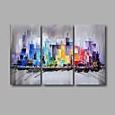billige Oljemalerier-Hang malte oljemaleri Håndmalte - Abstrakt Moderne Inkluder indre ramme / Tre Paneler / Stretched Canvas