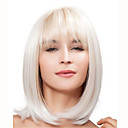 cheap Synthetic Capless Wigs-Synthetic Wig Straight Blonde Bob Haircut / With Bangs Synthetic Hair With Bangs Blonde / White Wig Women's