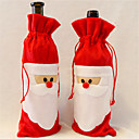 abordables Décorations de Noël-1 morceaux de couverture de bouteille de vin rouge au père noël noël table maison de décoration partie
