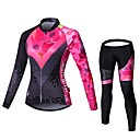 cheap Cycling Jersey & Shorts / Pants Sets-Malciklo Women's Long Sleeve Cycling Jersey with Tights - Black / Pink British Plus Size Bike Jersey Bib Tights Clothing Suit Breathable 3D Pad Quick Dry Back Pocket Winter Sports Velvet Lycra Classic
