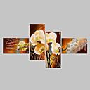billige Innrammet kunst-Hang malte oljemaleri Håndmalte - Blomstret / Botanisk Klassisk Moderne Fire Paneler