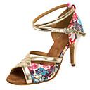 """abordables Zapatos de Baile Latino-Mujer Latino Salsa Lentejuelas Satén Sandalia Tacones Alto Interior Profesional Hebilla Flor Tacón Personalizado Dorado 1 """"- 1 3/4"""" 2 """"-"""