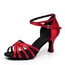 cheap Latin Shoes-Women's Latin Shoes / Ballroom Shoes Satin Heel Customized Heel Customizable Dance Shoes Blue / Almond / Red
