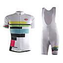 tanie Zestawy koszulek i spodni rowerowych-TVSSS Damskie Krótki rękaw Koszulka i szorty z szelkami na rower - Biały W stylu brytyjskim Rower Zestawy odzieży, Wkładka 3D, Odvádí pot Lycra / Wysoka elastyczność