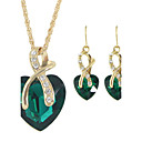 cheap Jewelry Sets-Women's Jewelry Set - Rhinestone Heart Fashion Include Hoop Earrings / Pendant Necklace / Necklace / Earrings Red / Green / Blue For Wedding / Gift / Daily