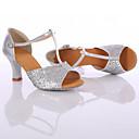 baratos Sapatos de Dança Latina-Mulheres Sapatos de Dança Latina / Tênis de Dança Paetês Salto Lantejoulas / Cadarço Salto Personalizado Personalizável Sapatos de Dança