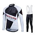 billige Cykeltrøjer-Fastcute Herre Dame Langærmet Cykeltrøje og tights med seler - Sort Cykel Tights Med Seler Tights Trøje Tøjsæt, 3D Måtte, Hurtigtørrende,