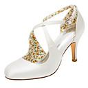 abordables Zapatos de Boda-Mujer Zapatos Satén Elástico Primavera / Verano Tacones Tacón Stiletto Dedo redondo Hebilla Marfil / Boda / Fiesta y Noche
