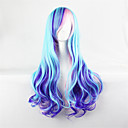cheap Videogame Cosplay Wigs-blue mixed purple wig cosplay long wavy curly wig heat resistant synthetic wigs Halloween