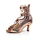 cheap Latin Shoes-Women's Latin Shoes Faux Leather Sandal Sparkling Glitter Low Heel Customizable Dance Shoes Champagne / Indoor / Performance / Practice / Professional