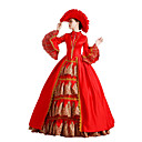 cheap Historical & Vintage Costumes-Rococo Victorian Costume Women's Dress Party Costume Masquerade Red Vintage Cosplay Lace Cotton Party Prom Poet Sleeve Floor Length Long Length Ball Gown / Floral