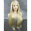 billige Lokkløs-Syntetisk blonder foran parykker Rett Syntetisk hår Parykk Dame Blonde Forside Svart