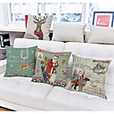 cheap Christmas Decorations-1 pcs Linen Pillow Case, Holiday Accent / Decorative