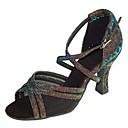preiswerte Latein Schuhe-Damen Schuhe für den lateinamerikanischen Tanz / Salsa Tanzschuhe Glitzer / Satin Sandalen / Absätze Glitter / Schnalle Maßgefertigter