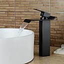 tanie Baterie kuchenne-współczesny kaskada wodospad zawór ceramiczny pojedynczy uchwyt jeden otwór olejowany z brązu, baterie łazienkowe zlew krany kąpieli