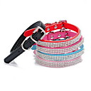 cheap Jewelry & Cosmetic Storage-Cat Dog Collar Adjustable / Retractable Rhinestone Solid PU Leather Black Rose Red Blue Pink