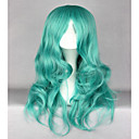 cheap Synthetic Capless Wigs-Synthetic Wig Wavy Synthetic Hair Green Wig Women's Long Capless