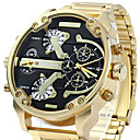 cheap Bag Sets-Men's Sport Watch / Military Watch / Bracelet Watch Calendar / date / day / Water Resistant / Water Proof / Creative Stainless Steel Band Charm / Luxury / Casual Black / Gold / Large Dial