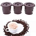 tanie Akcesoria dla gracza PC-3 szt. Brązowy sprytny kubek kawy wielokrotnego użytku filtr do kawy herbaty ze stali nierdzewnej miarka