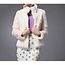 baratos Artigos de Festas-Feminino Casaco de Pelo Casual Simples Inverno,Sólido Azul / Vermelho / Branco Pêlo de CoelhoManga Longa