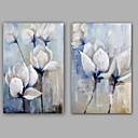 billige Stillebenmalerier-Håndmalte Blomstret/Botanisk Lodrett, Klassisk Moderne Lerret Hang malte oljemaleri Hjem Dekor To Paneler