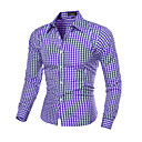 cheap Binoculars, Monoculars & Telescopes-Men's Slim Shirt - Plaid Print Classic Collar / Long Sleeve