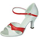 baratos Sapatos de Dança Latina-Mulheres Sapatos de Dança Latina Couro Sintético Sandália Presilha Salto Agulha Personalizável Sapatos de Dança Vermelh / Branco