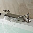 halpa Kylpyhuoneen lavuaarihanat-Nykyaikainen Moderni Kolmiosainen Vesiputous Keraaminen venttiili Kaksi kahvaa kolme reikää Harjattu nikkeli, Kylpyhuone Sink hana