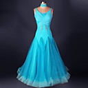 cheap Ballroom Dance Wear-Ballroom Dance Dresses Performance Spandex / Organza Draping / Lace Sleeveless High Dress