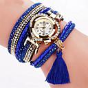 preiswerte Modische Halsketten-Damen Armband-Uhr Armbanduhr Quartz Cool Mehrfarbig PU Band Analog Charme Glanz Retro Schwarz / Weiß / Blau - Blau Rosa Hellblau