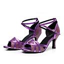 cheap Latin Shoes-Women's Latin Shoes / Jazz Shoes / Dance Sneakers Leatherette Sneaker Chunky Heel Customizable Dance Shoes Black / Silver / Purple