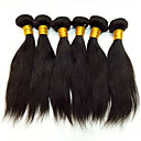 cheap Closure & Frontal-Peruvian Hair Straight Virgin Human Hair Natural Color Hair Weaves 6 Bundles 8-30 inch Human Hair Weaves Odor Free / Silky / Extention Black / Medium Auburn / Black / Dark Wine / Natural Black Human
