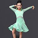 preiswerte Kindertanzkleidung-Latein-Tanz Kleider Leistung Milchfieber Spitze / Rüschen Langarm Kleid