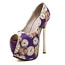 baratos Sapatos de Salto-Mulheres Sapatos Couro Ecológico Outono Sandálias Salto Agulha / Plataforma Peep Toe Branco / Preto / Roxo